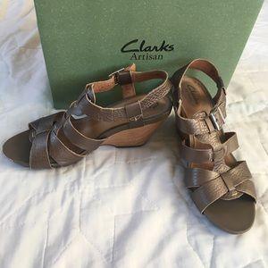 Clarks Champagne Sandal Wedges